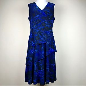 Luxe by Carmen Valvo Blue Black Animal Print Dress